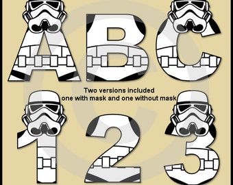 Stormtrooper (Star Wars) Alphabet Letters & Numbers Clip Art Graphics