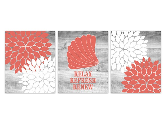Items similar to bathroom wall art coral and white for Bathroom decor coral