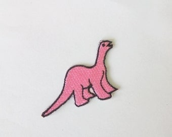 "Tiny Pink Dinosaur Iron on Patch Badge (1 7/8"" x 1 1/4"")"