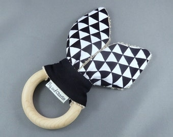 Teething Ring - Black and White Triangles