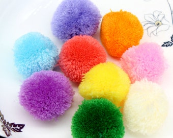 35pcs 40mm mix color Pom pom ball pompom yarn pom decor handmade project supply Garland crochet cotton decor 4CM
