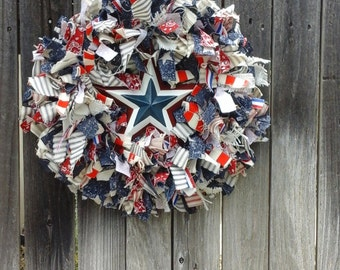 SALE ITEM 1/2 off ..Memorial,Veterans, 4th of July, Patriotic, Farmhouse Rag Wreath