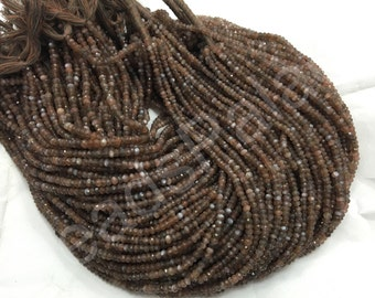 10 strands of Brown or chocolate moonstone micro faceted rondelle 3.5-4mm, 140 pieces