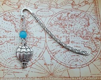 Steampunk bookmark, hot air balloon charm, beaded book mark, vintage style