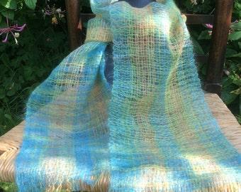 Thistledown Gossamer scarf - AquaGreenOrange