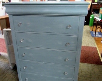 Highboy dresser shabby chic blue