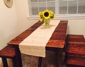 Free Shipping 4' Rustic Dining Table & 2-Bench Set, Restaurant Table, Rustic Kitchen Table, Picnic Table, Porch Table, Farmhouse Table,