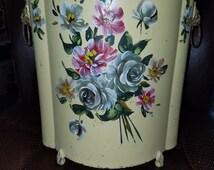 Vintage Metal Tole Hand Painted Garbage/Wastebasket  Can