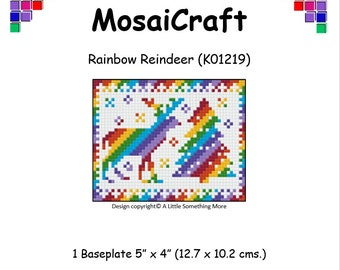 MosaiCraft Pixel Craft Mosaic Art Kit 'Rainbow Reindeer' (Like Mini Mosaic and Paint by Numbers)