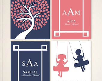 Brother sister wall art, siblings art, brother sister quotes, children wall art, kids art, monogram, typography, set of 4 prints