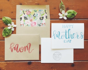 hand-lettered watercolor happy Mother's Day card