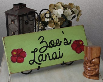 hawaii personalized lanai wooden sign, hibisicus sign, wall decor, hawaii decor, hawaii sign, hawaii gift, lanai decor, hawaii outdoor sign