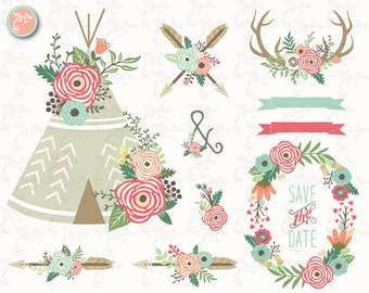 "Floral Tribal clip art ""FLORAL TEEPEE""Clipart, Floral, Teepee, Antlers, Wedding, Tribal, Wreath. 25 Png files.300 dpi.Instant Download Wd147"