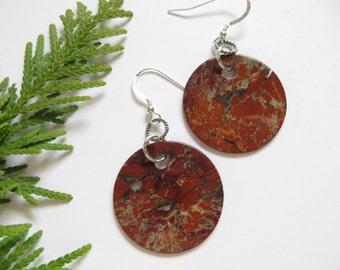 Brecciated Jasper Earrings, Semi Precious Gemstone Earrings, Statement Earrings, Brown Stone Earrings, Large Earthy Light Weight Earrings