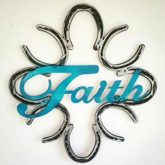Rustic horseshoe country wreath faith decor by for Faith decor