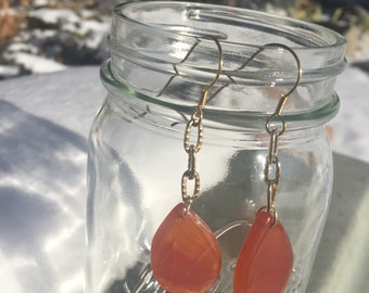 Coral agate teardrop earrings