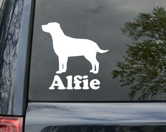 "Labrador Retriever Dog Vinyl Decal Sticker w/ Custom Personalized Name 5"" x 5"" curved *Free Shipping*"