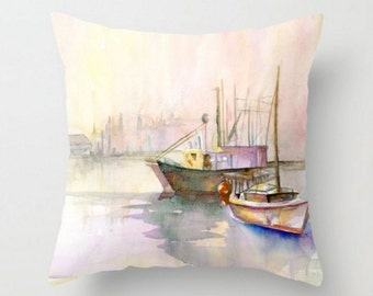 Two Ships Decorative Throw Pillow- Boats Pillow - Home Decor - Harbor Scene Pillows - Sofa Pillows - Elegant Bedding
