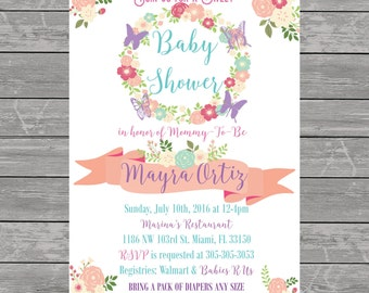 pink and purple Butterfly & Floral Baby Shower Invitation printable flowers