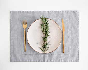 Light Grey Vintage Linen Placemat With Hemstitch