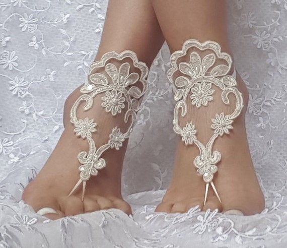 Free ship Light Champagne ivory frame Beach wedding barefoot sandals wedding prom party steampunk bangle beach anklets bangles bridal bride