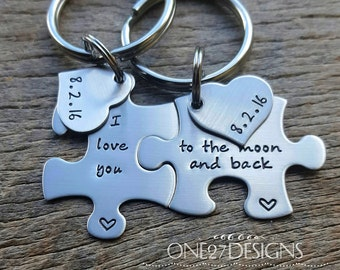 Customizable I love you to the moon and back Puzzle Piece Key Chain Set with date heart Hand Stamped Personalized His and Hers Set