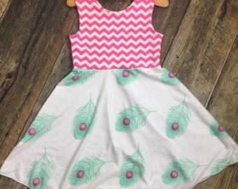 Pink cheveron ~ mint feather twirl dress