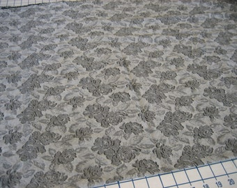 2 Yds Upholstery weight damask gray with a darker rose pattern