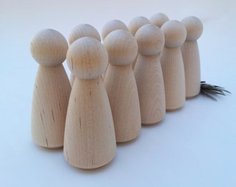 Wooden Peg Dolls / 10 Brides / 10 Grandma Peg People / Unfinished Maple Ready to Paint