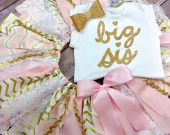 3 Piece Big Sis Outfit in Pink and Gold Cursive Bodysuit / Shirt, Fabric Tutu, and Headband / Hair Clip; Sibling Outfit, Big Sister Outfit
