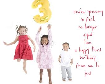 3rd Birthday, third birthday card, child's birthday card