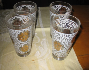 Vtg mid Century Atomic Drinking glasses white and gold floral  front in excellent shape free ship awesome atomic