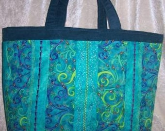 Quilted Turquoise Embroidery Tote