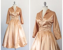 50s Gold Satin Two Piece Skirt and Blouse Set - 1950s Vintage Heart Party Dress - Medium - Size 6