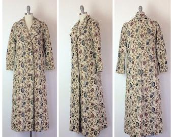 60s Floral Tapestry Coat / 1960s Vintage Carpet Jacket / Medium / Size 8