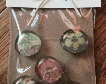 Glass Marble Magnets - Floral