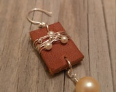 Kathleen's Special Order - Pearl leather earrings.