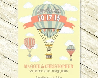 Save the Date Card with Hot Air Balloon