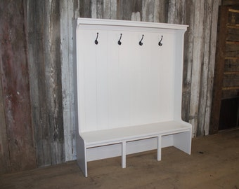 White Solid Wood Hall Bench with Storage, Mudroom Storage, Made to Order, **Free Shipping**