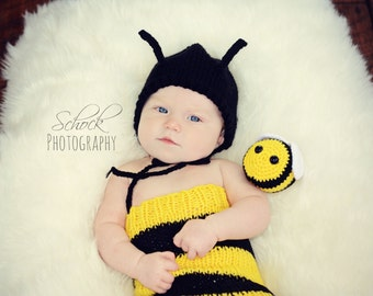 Bumblebee Newborn Outfit - Bumblebee Baby Outfit - Honeybee Baby Outfit - Bee Baby Outfit - Bee Newborn Photo Prop