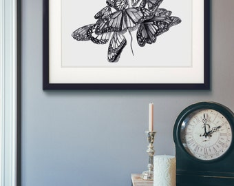 Butterfly limited edition Giclée print of original limited edition sketch monarch migration .