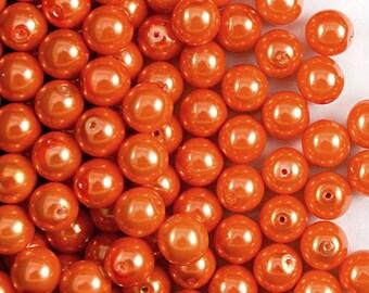 30pcs Czech Glass Pearl Beads Round 8mm Pastel Orange (8RPP006)