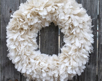 "28"" White Burlap Wedding Wreath, Rustic Wedding Decor, Beach Wedding, Burlap Wedding Decor, Wedding Wreath"