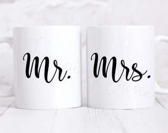Mr. and Mrs. Mug Set, Couple Mug Set, Couples coffee cups, Mr. and Mrs. Coffee Mugs, Wedding Gift, Bridal Shower gift, anniversary gift