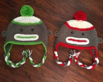 Green Sock Monkey Hat