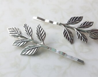 Silver Antiqued Leaf Bobby Pins, Hair Pins, Woodland Rustic Nature Wedding Hair Clip Bridal Party Bridesmaids