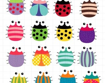 INSTANT DOWNLOAD   Colorful bugs Clipart colorful insects Scrapbook for Personal and Commercial Use