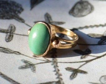 18k Rose Gold and Natural Turquoise ring Arts and Crafts Era ring size 6