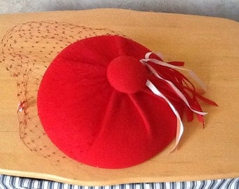Red Felt Hat with veil by CHANDA