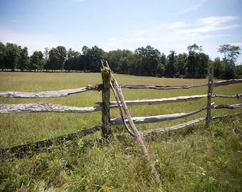 Old Split Rail Fence, Farm Fence, Meadow, Leaning Fence Post, New England Farms